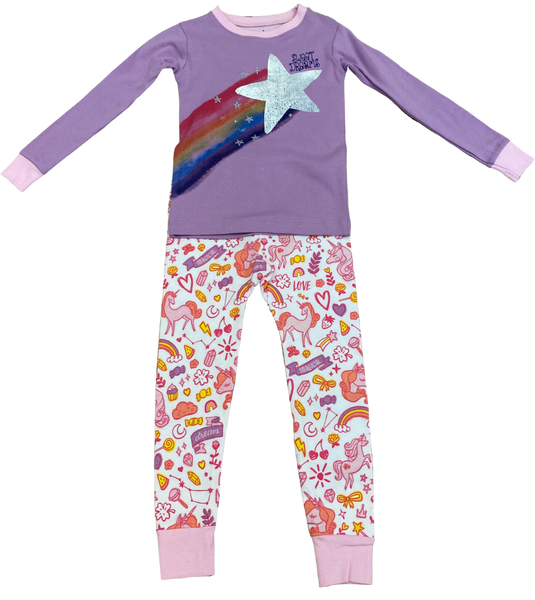 Purple Unicorn and Rainbow 2pc Pajama Set