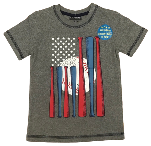 Gray Patriotic Baseball Tee