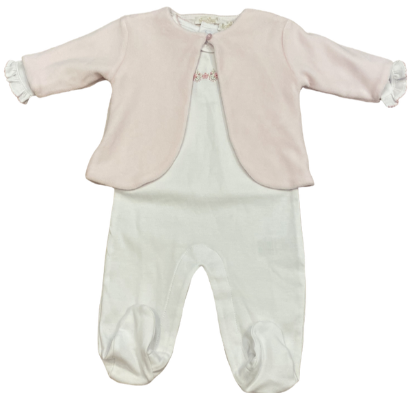 White and Pink Footie and Cardigan Set