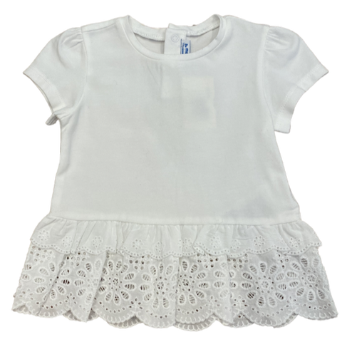 White Floral Lace Peplum Tee