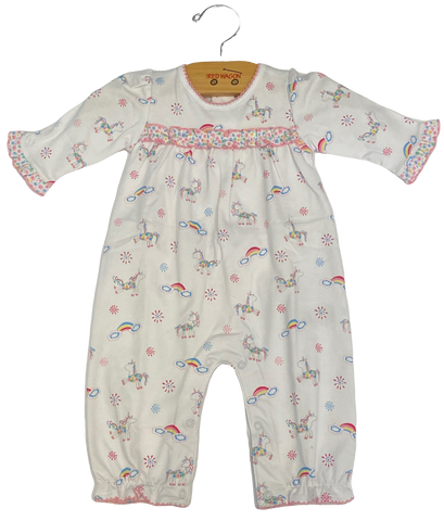 White Floral Unicorn Coverall