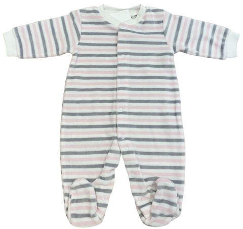 Pink Gray Velour Stripe Footie