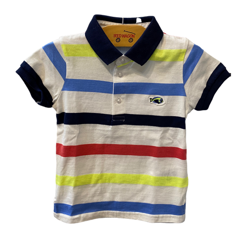 White Multi Stripe Fish Polo Shirt