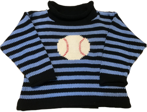Striped Baseball Roll Neck Sweater