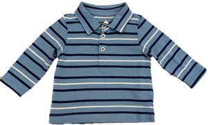 blue and white striped long sleeve polo shirt with buttons