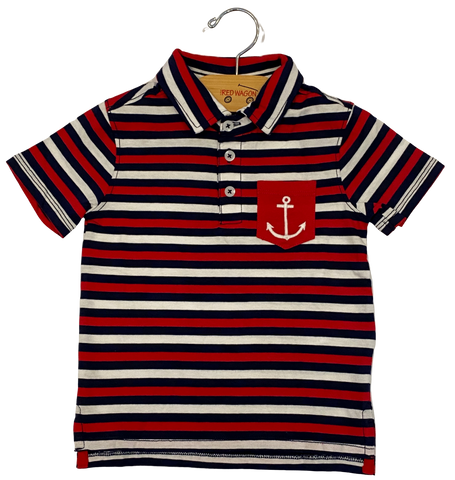 Nautical Stripe Anchor Polo Shirt
