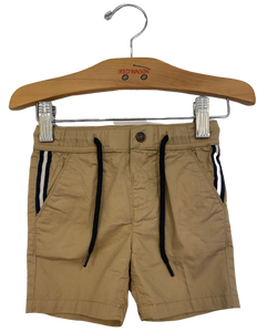 Comfy khaki shorts with black and white stripe down the pocket and drawstring waistband.