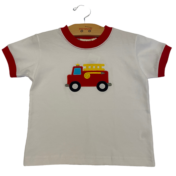 white shirt with red firetruck graphic in the middle, red on neckline and sleeves