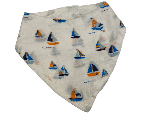 White Sailboat Bandana Bib