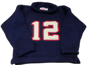 Navy #12 Roll Neck Sweater