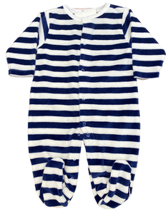 Navy and White Striped Velour Footie