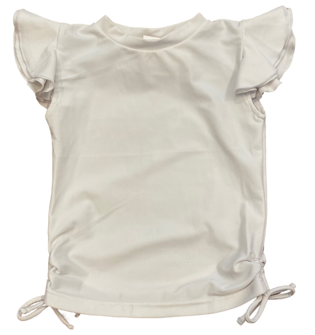 White Ruffle Rashguard Swim Top