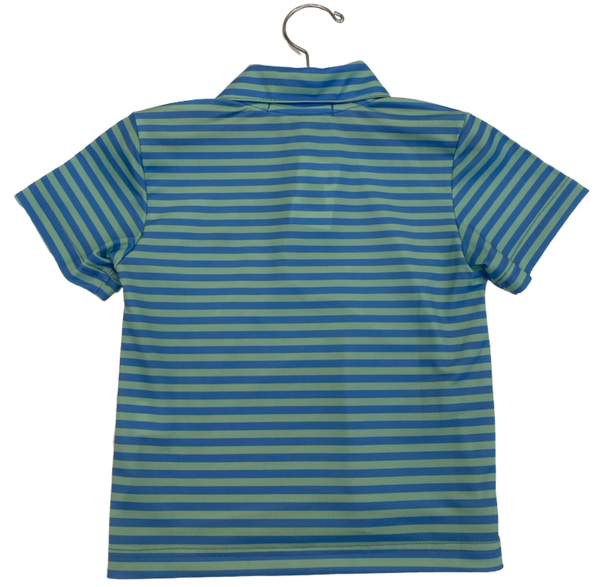 Blue and Green Striped Wicking Polo Shirt