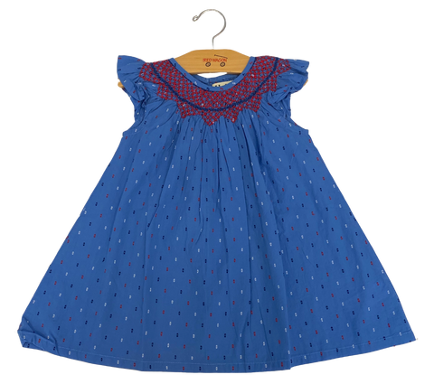 Blue Red Dotted Seersucker Dress