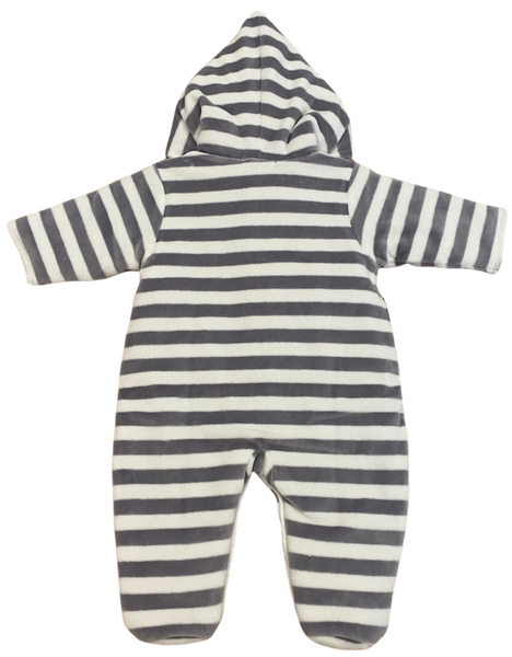 Gray and White Fleece Hooded Footie