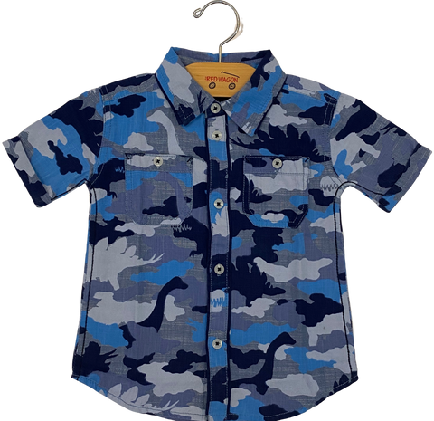 Blue Dinosaur Camo Button Down Shirt