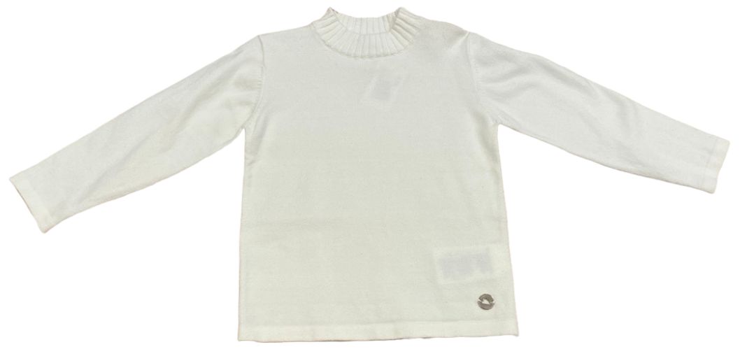White Mock Neck Long Sleeve Top