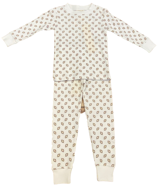White Football 2pc Pajama Set