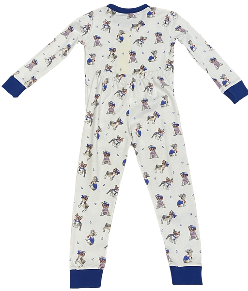 White Nautical Dog 2pc Pajama Set