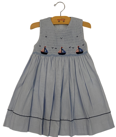 Blue Sailboat Seersucker Dress