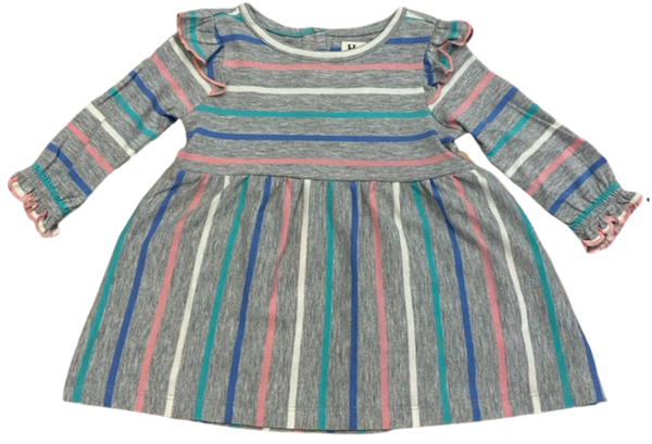 Gray Multi Striped Dress