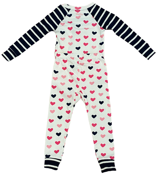 White and Pink Hearts 2pc Pajama Set