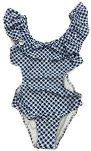 Navy and White Gingham Monokini Swimsuit