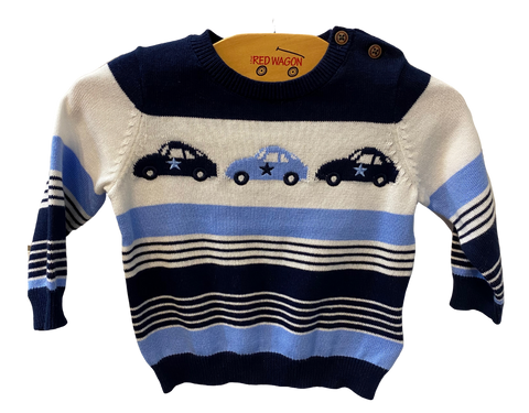 Blue Striped Car Long Sleeve