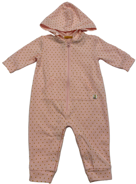 Pink and Gold Dot Hoodie Coverall