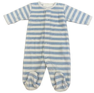 Light blue and white striped velour footie