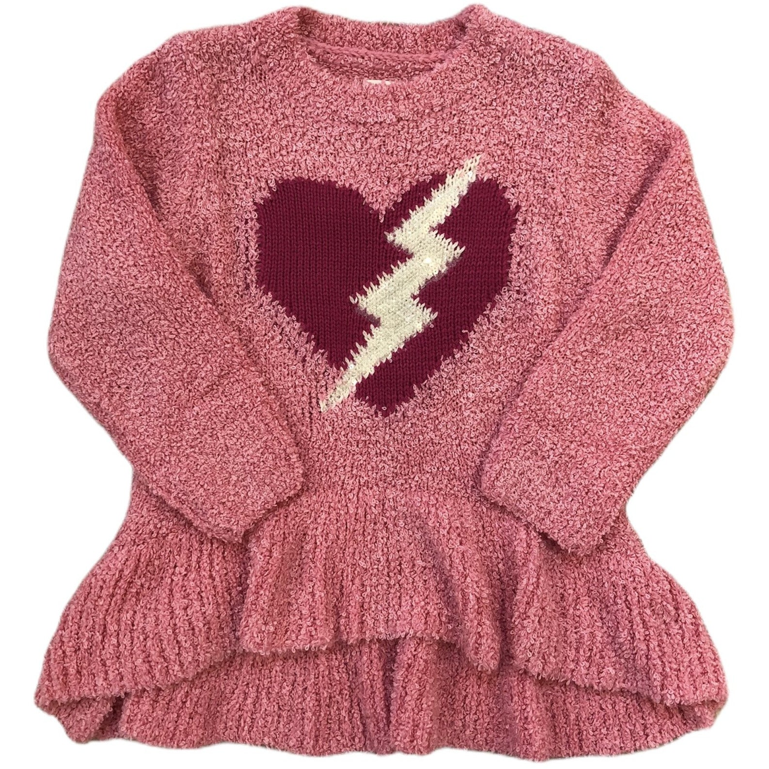 Fuzzy pink sweater with heart and sequin lightning detail and ruffles at bottom.