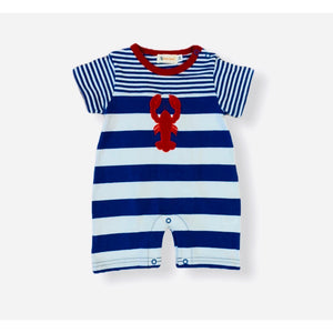 Blue and White Striped Lobster Romper