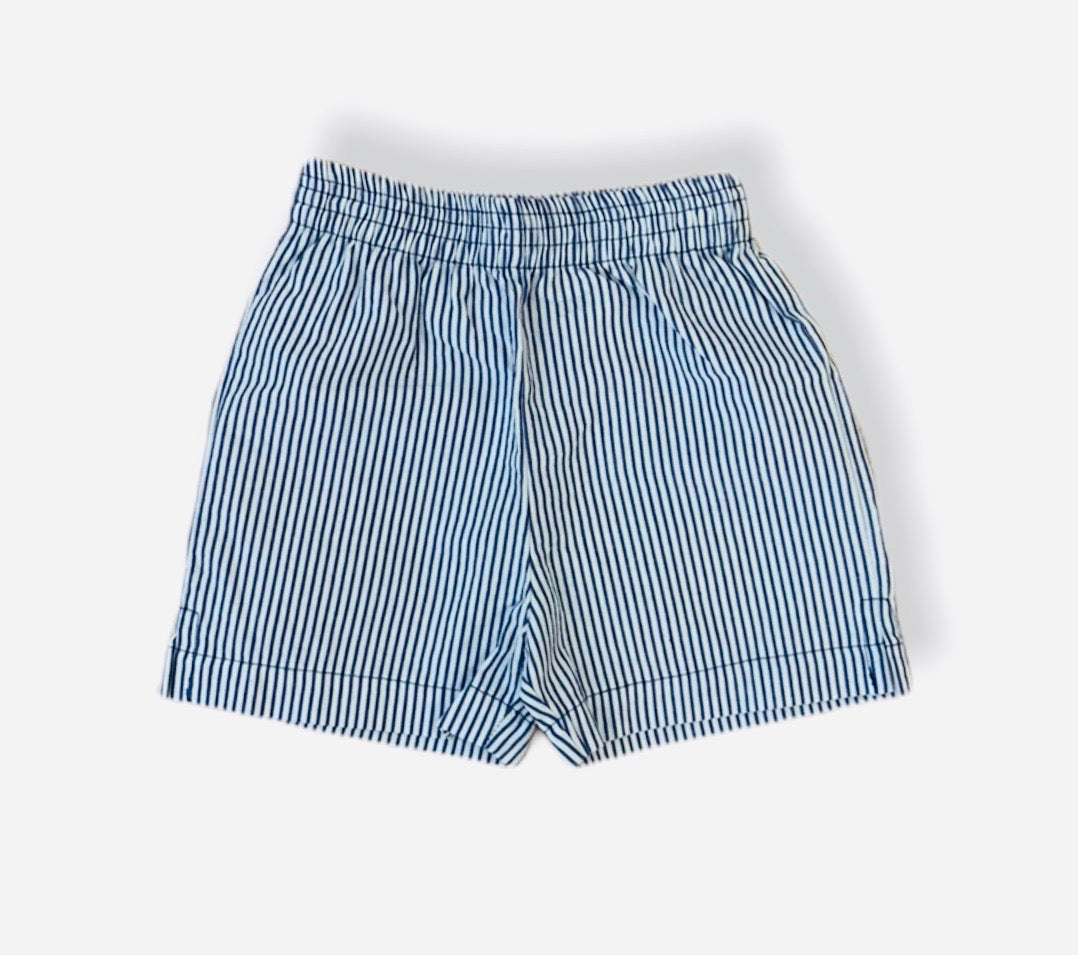 Blue and White Striped Seersucker Shorts