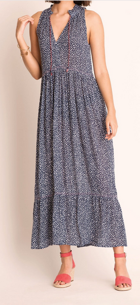 Navy and White Dot Maxi Dress