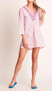 Pink Scalloped Embroidered Tunic