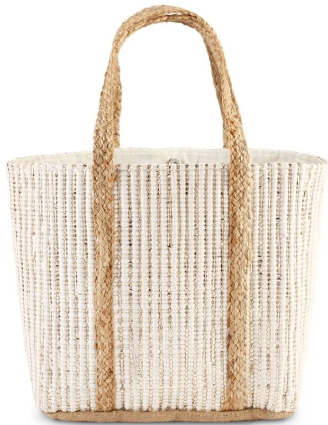 White Metallic Tote Bag