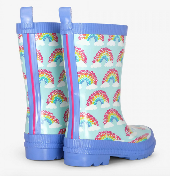 Blue Rainbows Rain Boots