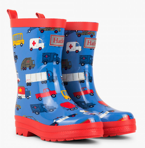 Blue Transportation Rain Boots