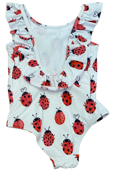 White Ladybug One Piece Swimsuit