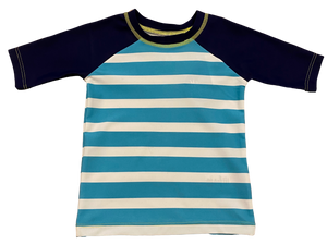 Blue and White Striped Rashguard