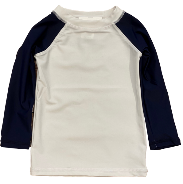 White and Navy Long Sleeve Rashguard