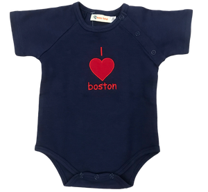I Love Boston Onesie Navy