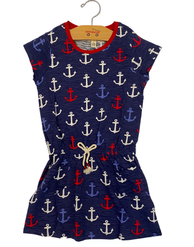Navy Anchor Drop Waist Dress