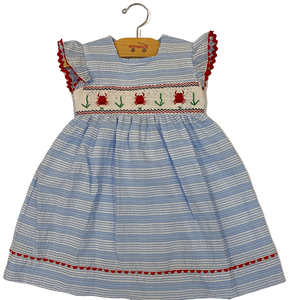 Blue Striped Crab Seersucker Dress