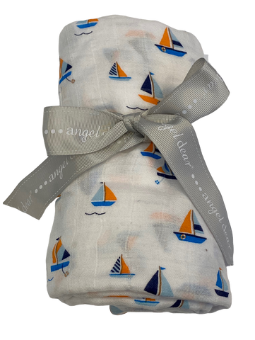 White Sailboat Muslin Swaddle