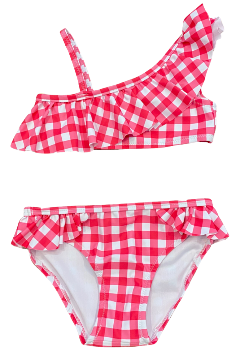 Pink and White Gingham Bikini 2pc Swimsuit