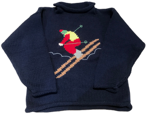 Navy Skier Roll Neck Sweater