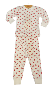 White Small Lobster Print Pajama 2pc Set