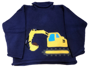 Navy Yellow Crane Roll Neck Sweater