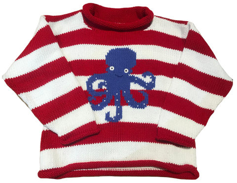 Red Striped Octopus Roll Neck Sweater